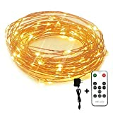 Image of Led String Lights Dimmable Copper Wire Starry Light, 33ft, UL certified 5v Power Adapter For Christmas Wedding and Party suitable for indoors or outdoors Updated Remote Controller