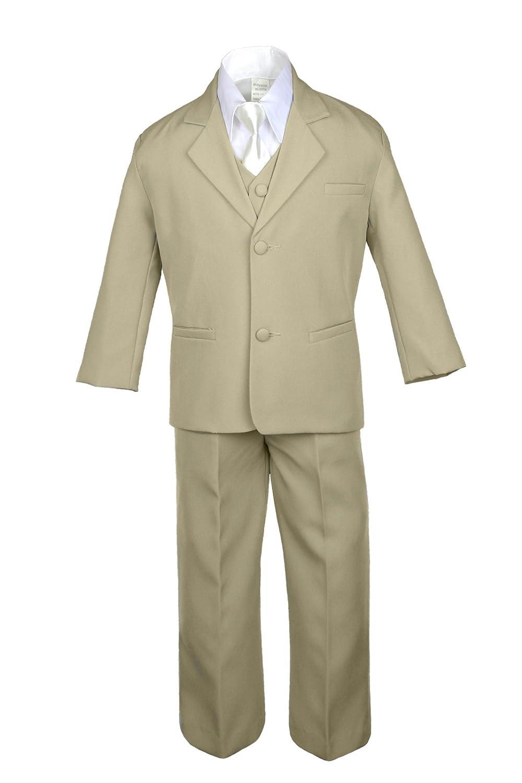 4T 3pc Formal Baby Teens Boys Yellow Necktie Khaki Pants Sets Suits S-14