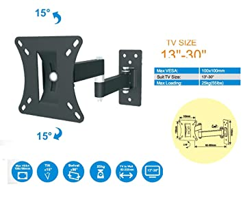 Buy Gadget Wagon 13 30 Led Tv Monitor Wall Mount Bracket Vesa 100x100 Strong For Lcd And Plasma Also Full Motion 13 30 Inches Online At Low Prices In India Amazon In