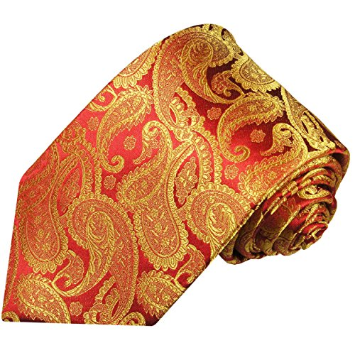 Paul Malone Extra Long Necktie 100% Silk Red Gold Paisleys (Gold Long Paisley Extra Tie)