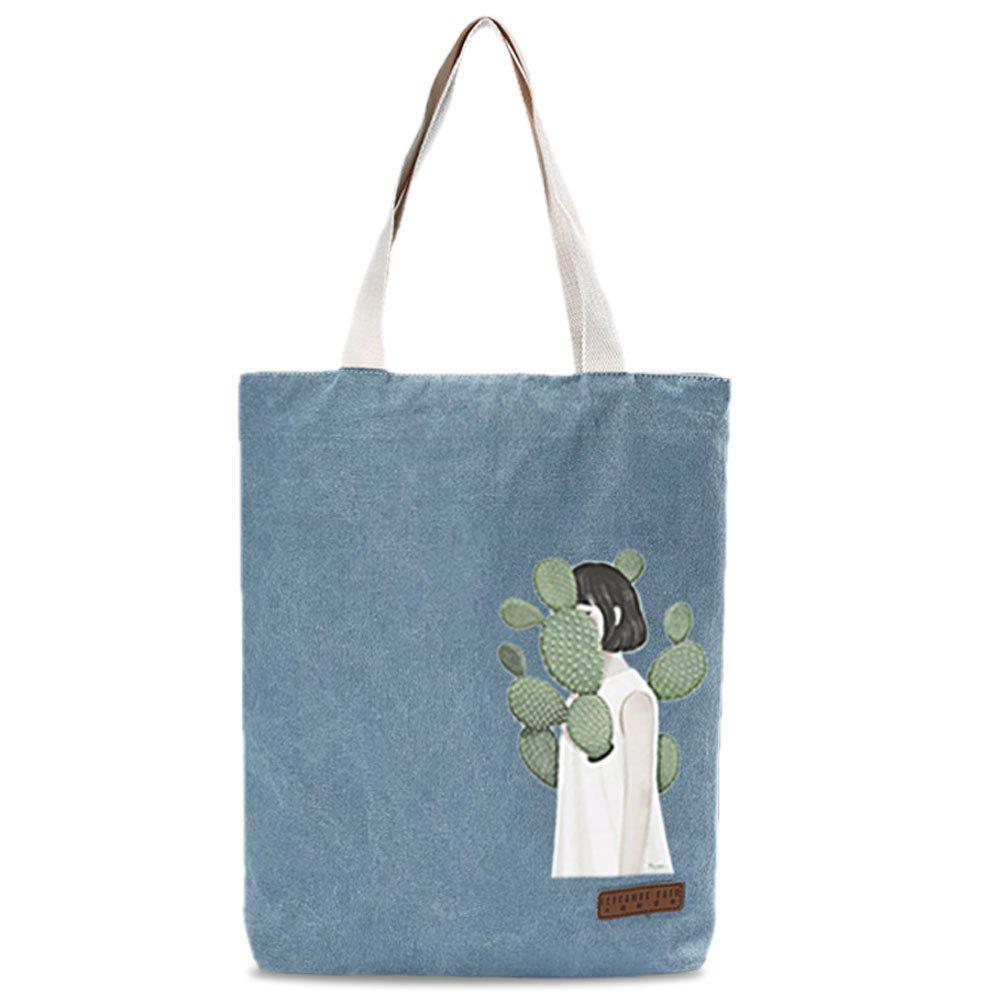 Vintga Women Canvas Shoulder Bag Large Satchel Handbag Tote Bags Purses Work Bag Ladies Zippered Weekend Shopping Bag (Lake Blue) by Vintga