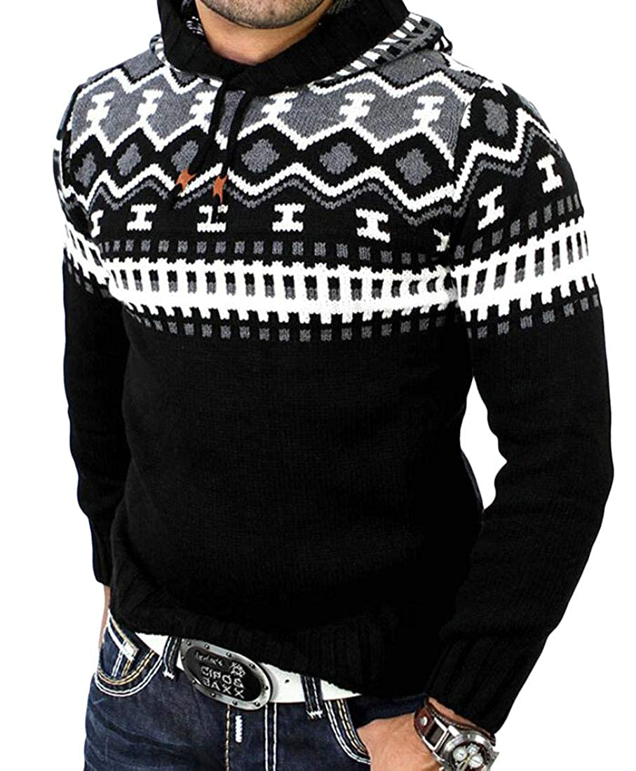 Spirio Men Stylish Print Hooded Color Block Knit Pullover Sweater