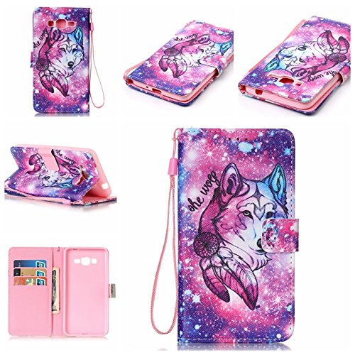 Price comparison product image Spritech(TM) Pu Leather Phone Case For Samsung Galaxy Grand Prime G530 2015 Edition, Flip Fold Wallet Pouch With Card Slots Cellphone Cover, Wolf