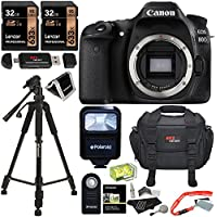 Canon EOS 80D Digital SLR Camera Body, Lexar 32GB Memory Card 2 Pack, Rit Gear Camera Case, Polaroid Flash, Polaroid 57