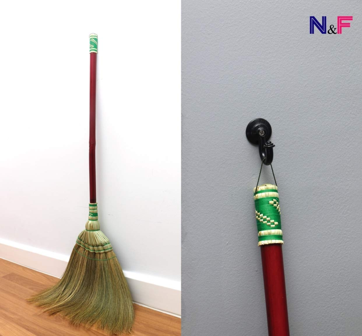 Natural Grass Broom Vintage Dustpan Retro Made in Thailand,Handmade Broom, Housewarming Gift, Witch Broom, Thai Broom, Broomstick Bamboo Stick Handle, Kong Grass Broom, Thick Broomstick, Durable Broom