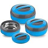 Asian Cosmos Plastic Casserole Set, 3-Pieces, Blue