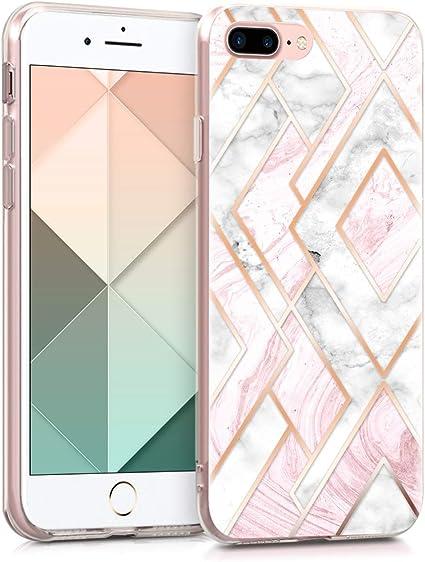 kwmobile Cover Compatibile con Apple iPhone 7 Plus / 8 Plus - Back Case Custodia in Silicone TPU Trasparente Chic Oro Rosa/Bianco/Rosa Antico