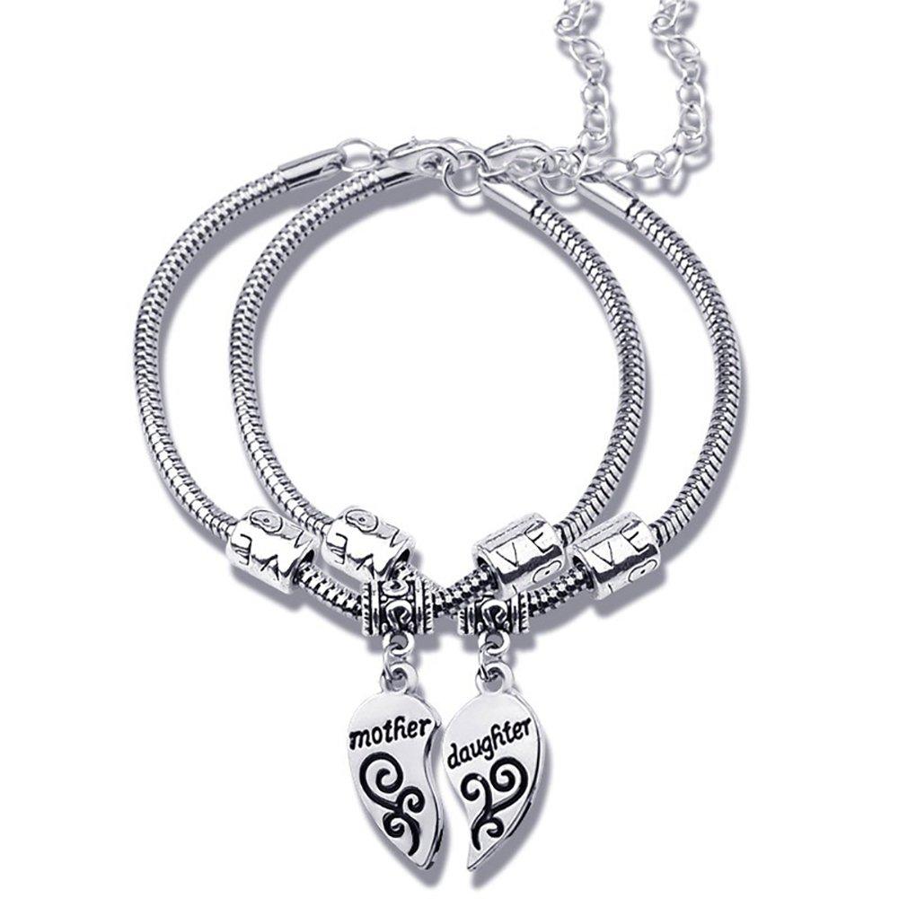 2Pcs Matching Heart Mother Daughter Bracelets Bangles Pendant Jewelry Set Gift