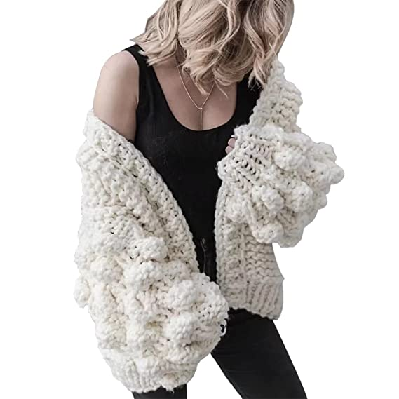 Ladies Chunky Texture Thick Bubble Long Sleeve Knitted Cardigan Winter Warm