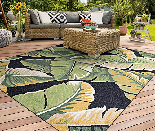 Couristan Covington Rainforest Forest Green-Black Indoor/Outdoor Area Rug, 5'6