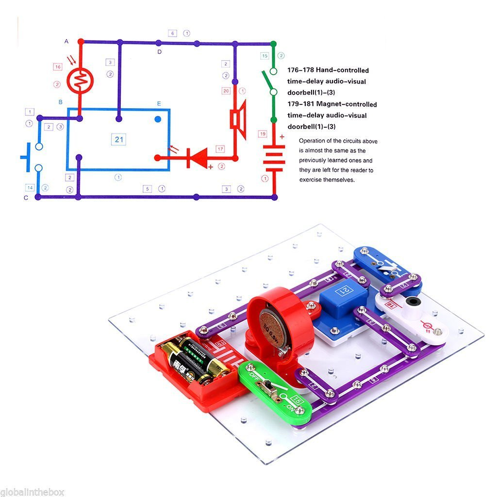 Busyall W 335 Electronic Discovery Kitdiy Circuits Experiments Snap Jr 100 Kit Experimentsscience Smart Electronics Block Toy For Kids Toys Games