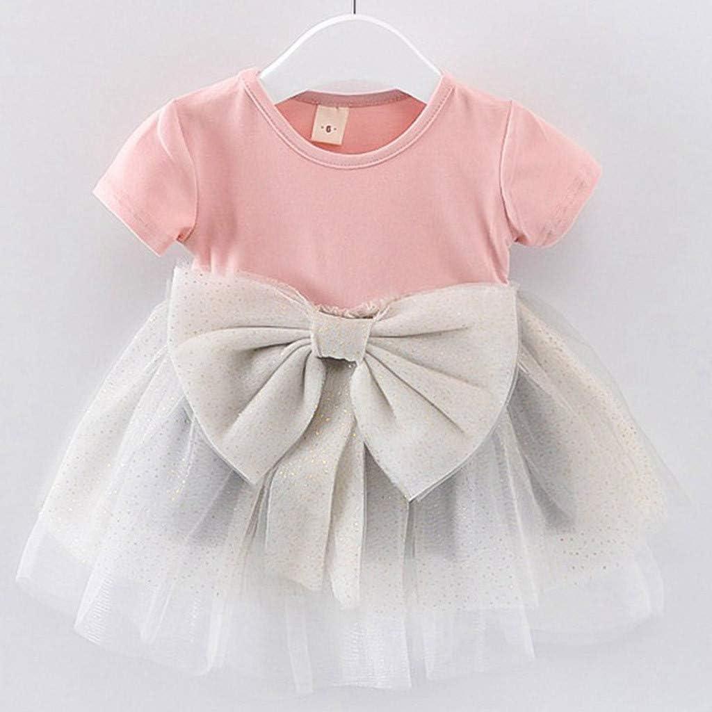 SIN vimklo Baby Girls Short Sleeve Bow Mesh Princess Party Dress