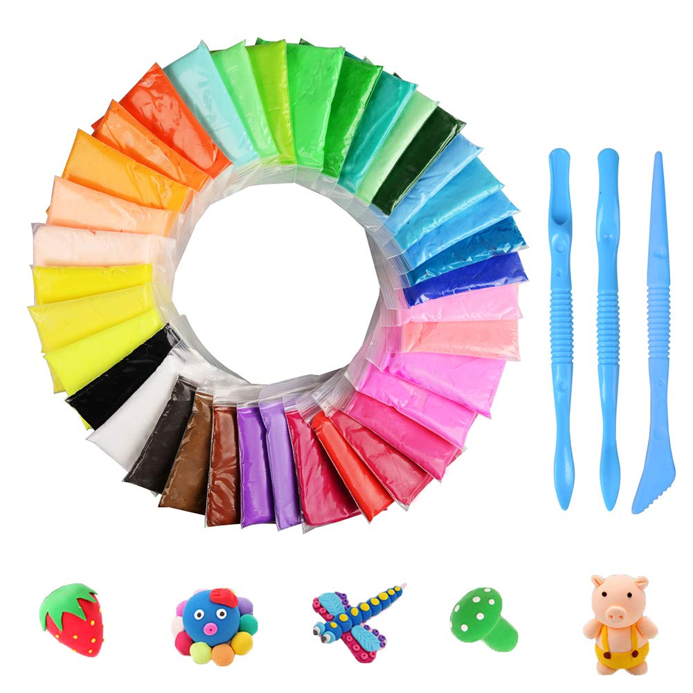 DIY Fluffy Slime Kit, KidsHobby 36 Pack Soft Putty Floam Slime Kit Stress Relief Toys for Adults and Kids, Non-Sticky and Non-Toxic Modeling Clay with Tools