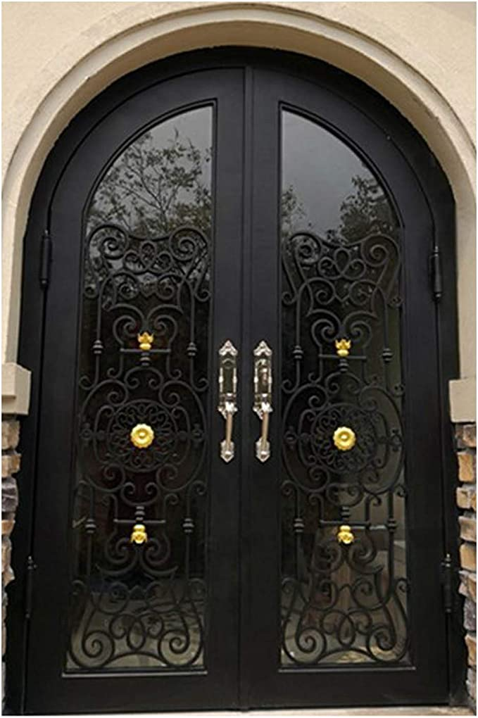 Simart Puertas de hierro forjado doble exterior entrada frontal doble hierro forjado puerta de cristal 68x96: Amazon.es: Bricolaje y herramientas