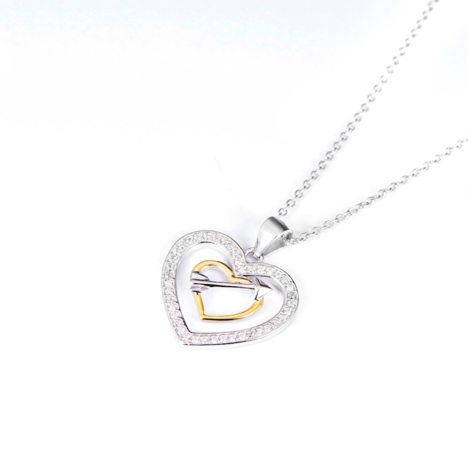 CS-DB Pendants Necklaces Silver Love Heart Cupid Arrow Crystal Jewelry Girls