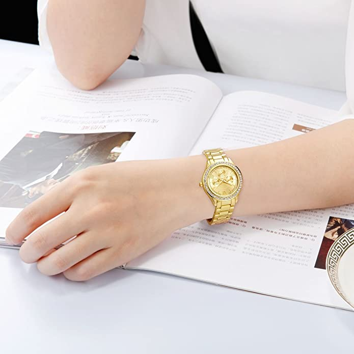 Amazon.com: DWG Woman Watch, Bracelet Wrist Watch, Casual Gold Rhinestone Elegant Round Quartz Ladies Dress Watches: Jewelry