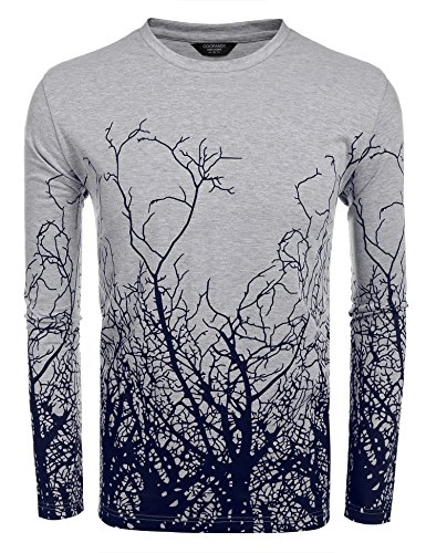 COOFANDY Men's Fashion Long Sleeve Shirt Tree Shadow Printed Graphic T-Shirt, Gray, Medium