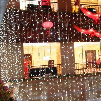 MarSwell® 3M x 3M 300-LED (White Light) Romantic Fairy Light Christmas Wedding Outdoor Decoration Curtain String Light Garden Decorations Patio Lght With (110V) Plug