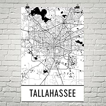 Florida City Map.Amazon Com Tallahassee Poster Tallahassee Art Print Tallahassee