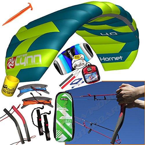 - Peter Lynn Hornet 4M Quad Handles Buggy Traction 4-Line Trainer 2 Kite Bundle : (6 Items) Includes 2nd Kite CX 1.5M Control Strap Kite + Ground Stake +WindBone Kite Lifestyle Decals +Key Chain +Koozie