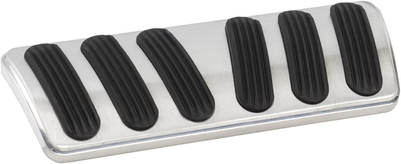 Lokar BAG-6180 Brushed Aluminum Billet Aluminum Curved Automatic Brake Pad with Rubber Insert