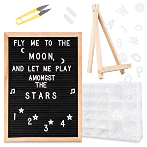 Feltwrite Felt Letter Board Sign: 12x16 Inch Black Felt Word Board with 591 White Letters, Numbers & Emojis - Announcement Message Board with Oak Frame, Stand, Wall Hook, Hanging Strips, Organizer Box