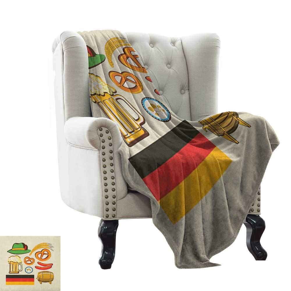 color14 50 x60  Inch Weighted Blanket for Kids German,German Flag with Man and Woman in Traditional Clothes European Culture Illustration, Multicolor Warm Couch Bed Throws Blanket 50 x60