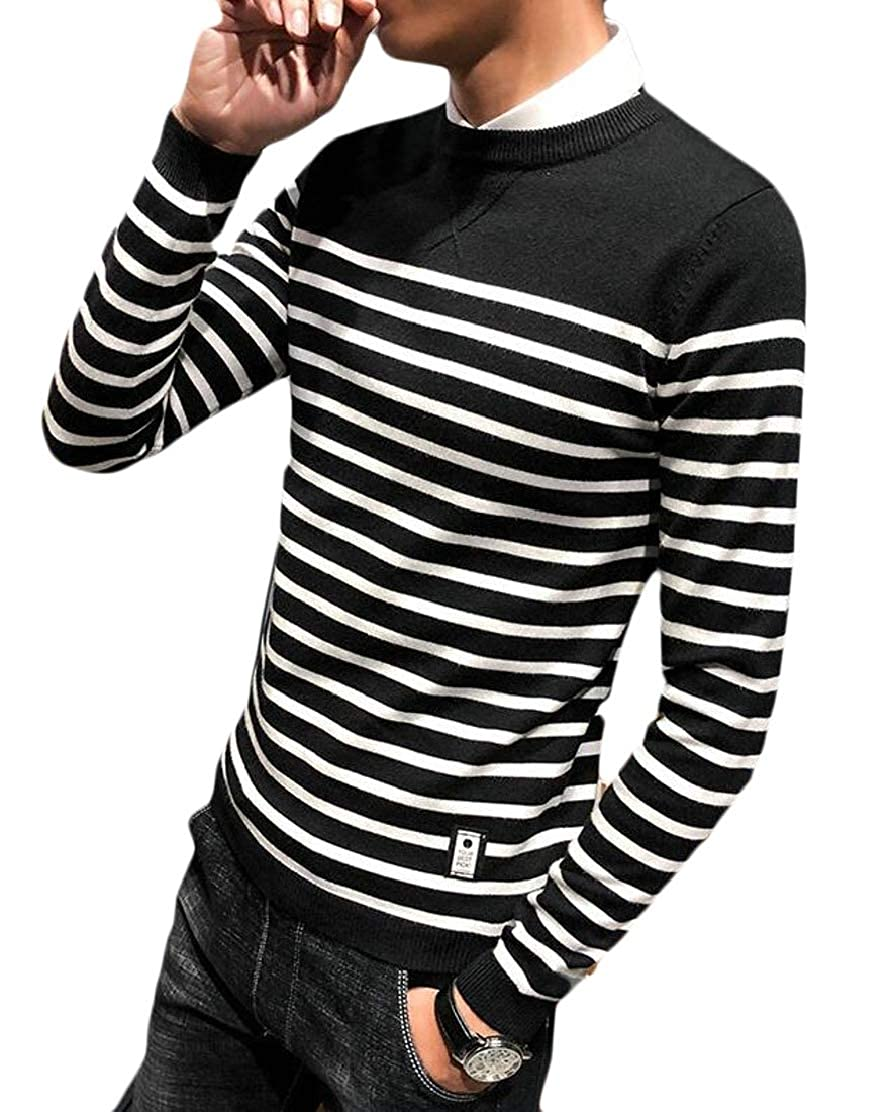 CYJ-shiba Mens Striped Sweater Fashion Crew Neck Knit Long Sleeves Pullover Sweater