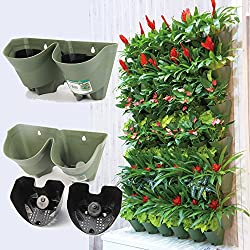 Worth Self Watering Vertical Wall Planter Flowerpot,Hanging Plant Pots W/ 2-pockets and 3pc Filter Layer,Olive Green,Perfect for Indoor & Outdoor DecorxFF08;Buy 3 Sets GetxFF09;