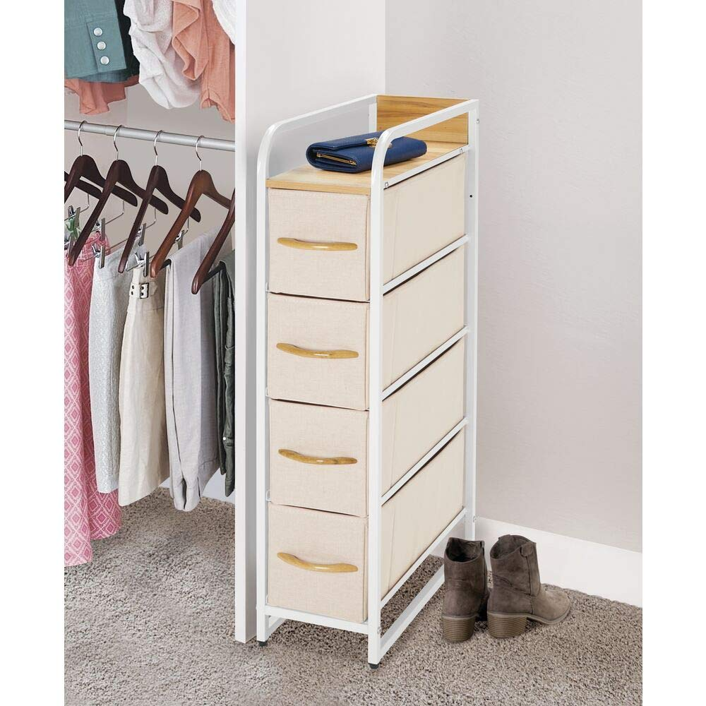 Organizer Unit for Bedroom Easy Pull Fabric Bins Sturdy Steel Frame 4 Drawers mDesign Vertical Narrow Dresser Storage Tower Charcoal Gray//Graphite Gray Hallway Wood Top /& Handles Closets