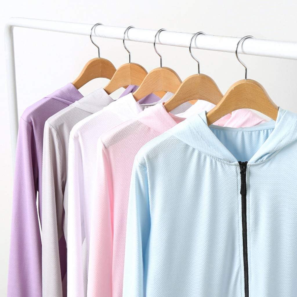 Giacca Confortevole Protezione Solare Donna Sottile Estate Sciolti a Maniche Lunghe con Cappuccio Anti-UV Top Confortevole (Color : Gray) Pink