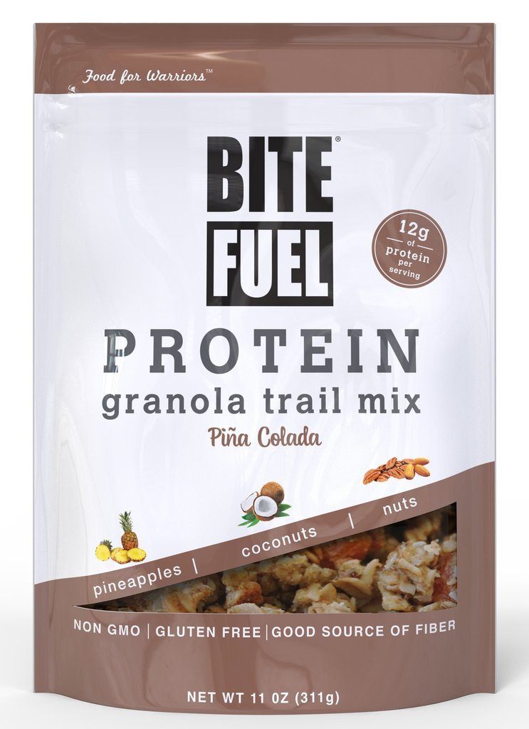 BITE FUEL High Protein Granola Trail Mix, Non GMO, Gluten Free Healthy Snacks - Pina Colada 11oz