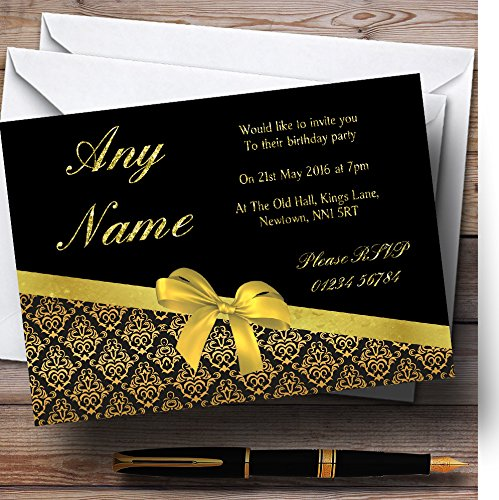 Invitations Wedding Damask Black - Classic Black And Gold Damask Glitter Look Birthday Party Personalized Invita.