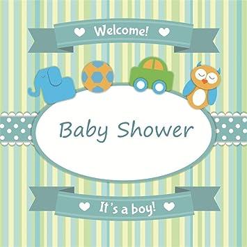 YongFoto 3x3m Vinilo Fondo de Fotografia Baby Shower Es un niño Tarjeta de Llegada de Bienvenida Invitación Rayas Telón de Fondo Photo Booth Infantil Party ...