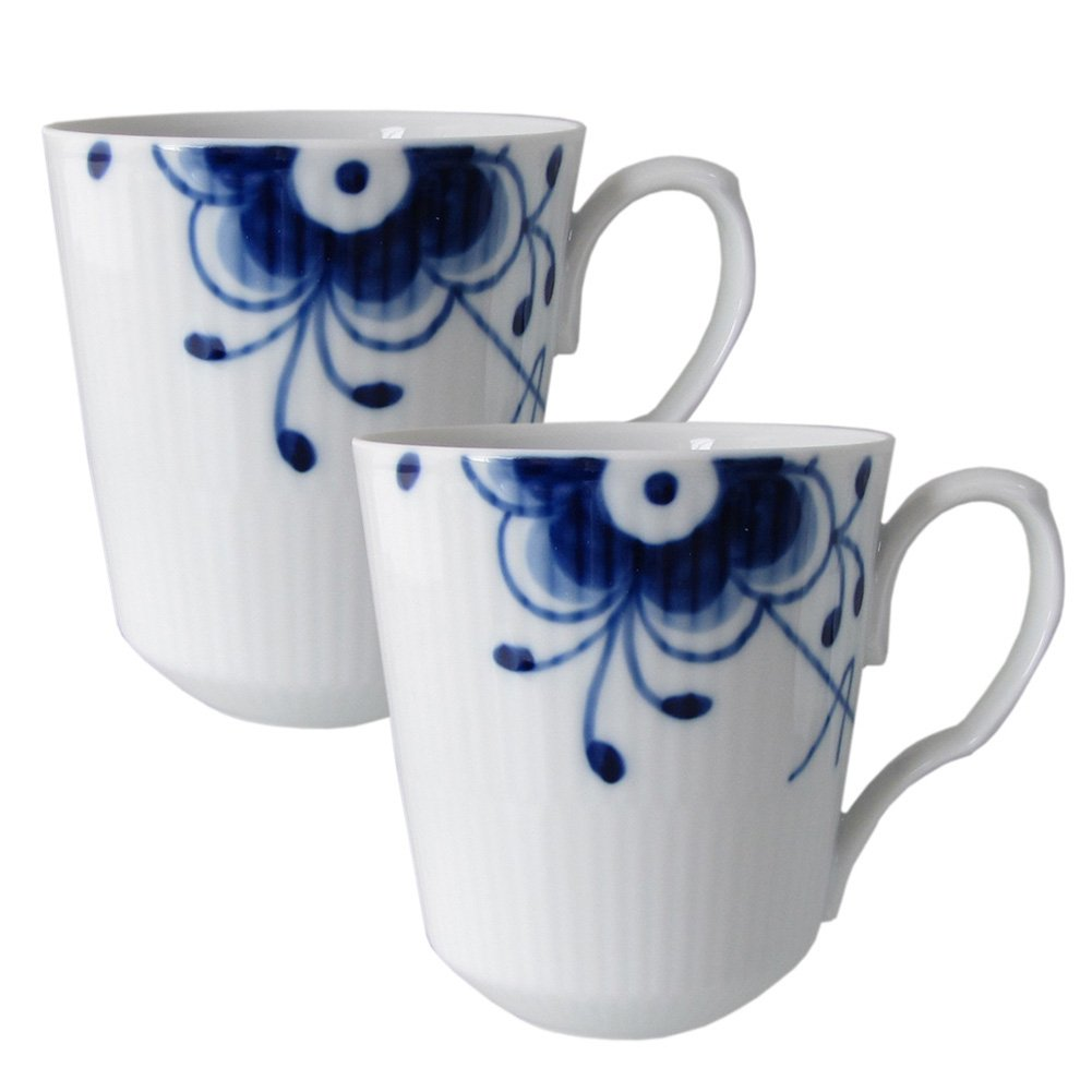 Blue Fluted Mega 12.5 oz. Mugs (Set of 2) by Royal Copenhagen (Image #1)