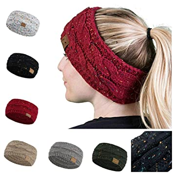 f9ec12e5f3e Image Unavailable. Image not available for. Color  Women Winter Warm Beanie  Headband Skiing Knitted Cap ...