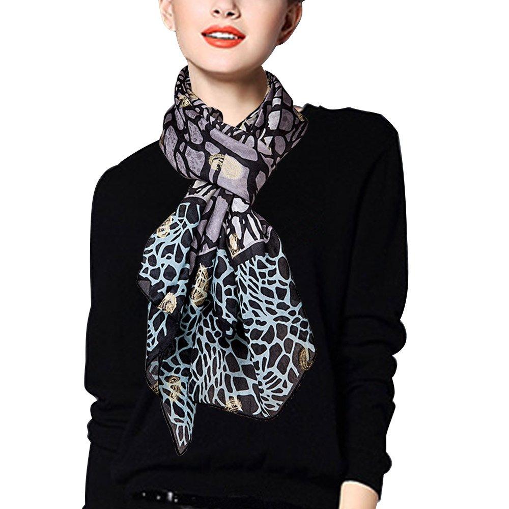 EcoWonder シルクスカーフ シルク100% レディース 冷房対策 大判 180*110cm B01911Y4DM Embroidery-black Embroidery-black