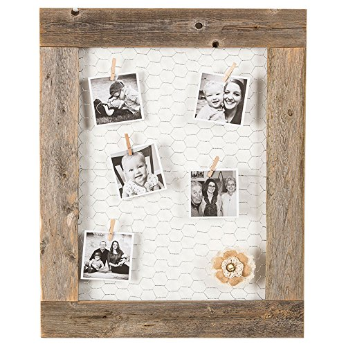 Barnwood Picture Frame Chicken Wire Photo Display | Wall Mount | Handmade Rustic Reclaimed Wood | 27 x 23 Inch - Natural (Chicken Frame Photo Wire)
