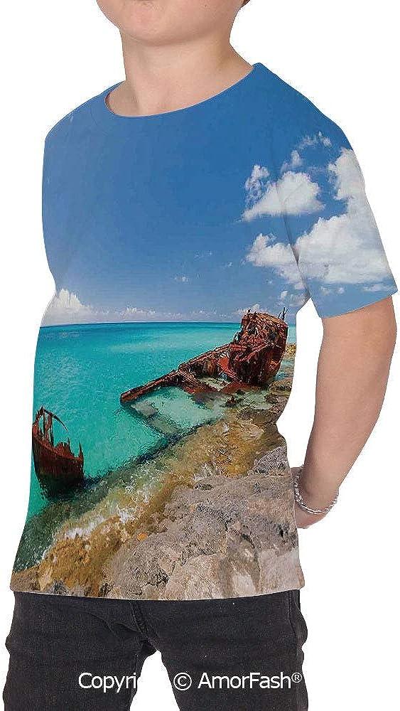 Shipwreck Girls Casual Button Down Short Sleeve Shirt,XS-2XL,Ship Wreckage on a