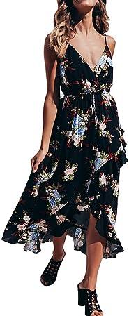 Sulifor Vestido sin Espalda con Estampado,Vestido Sexy sin Mangas de Mujer,Vestido Largo de Playa,Vestido Camisola con Estampado Floral,Vestido cómodo y Casual