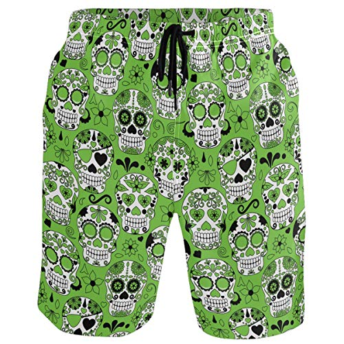 Male Sugar Skull (visesunny Sugar Skull Pattern New Summer Men's Swim Trunks Quick Dry Bathing Suits Beach Holiday Party Board Shorts)