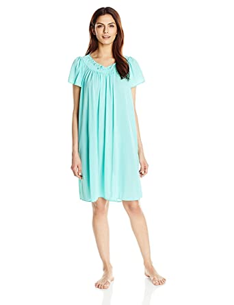 Miss Elaine Women s Plus Size Tricot Short Nightgown at Amazon Women s  Clothing store  15683bea1