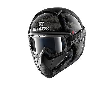 Shark Tiburón cascos de motocicleta, color negro/plata, talla S