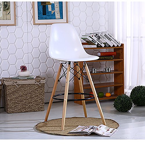 Modern Dinettes Set (Fancyhouse Wood White Bar stool Living room set Chairs set of 2 Eames Style)