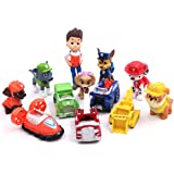 12 Pcs Paw Patrol Figure, Deluxe Cake Toppers Cupcake Decorations Party favors including Ryder, Marshall, Chase, Skye, 5 Vehicles, 1-2.5 inch