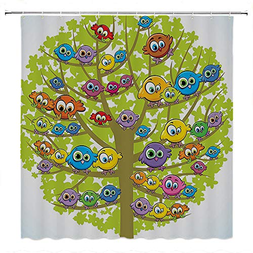SATVSHOP Bathroom Polyester Shower Curtain for Bathtub Showers-Funny Cartoon Group of Fun Colorful Canary Bird Family on Oak Tree Branch Animal Art Illustration .W72 x L72 inch