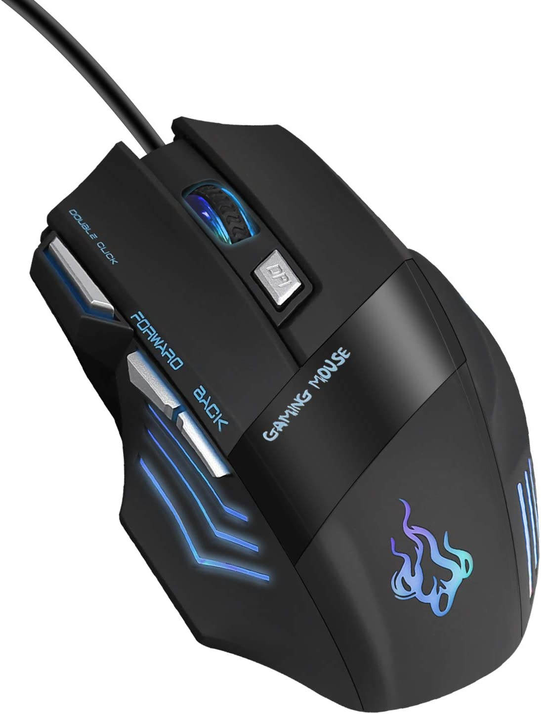 QueenDer Ratón Gaming [Nueva Versión] Ratones Gaming Profesional con Cable USB Gaming Mouse Óptico, 4 dpi Adjustables y 7 Botón Compatible con Windows 7, 8, 10, XP, Vista, ME, 2000 y Mac OS - Negro