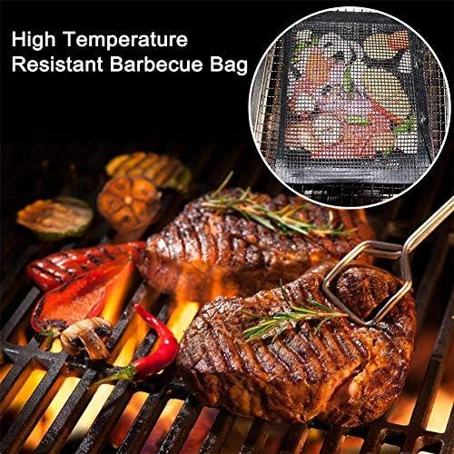 WSN 3 pcs Barbecue Grill Maille Sac, antiadhésif Grand Barbecue cuit au Four Griller Sac en PTFE résistant à la Chaleur réutilisable pour Pique-Nique en Plein air Cuisson Barbecue