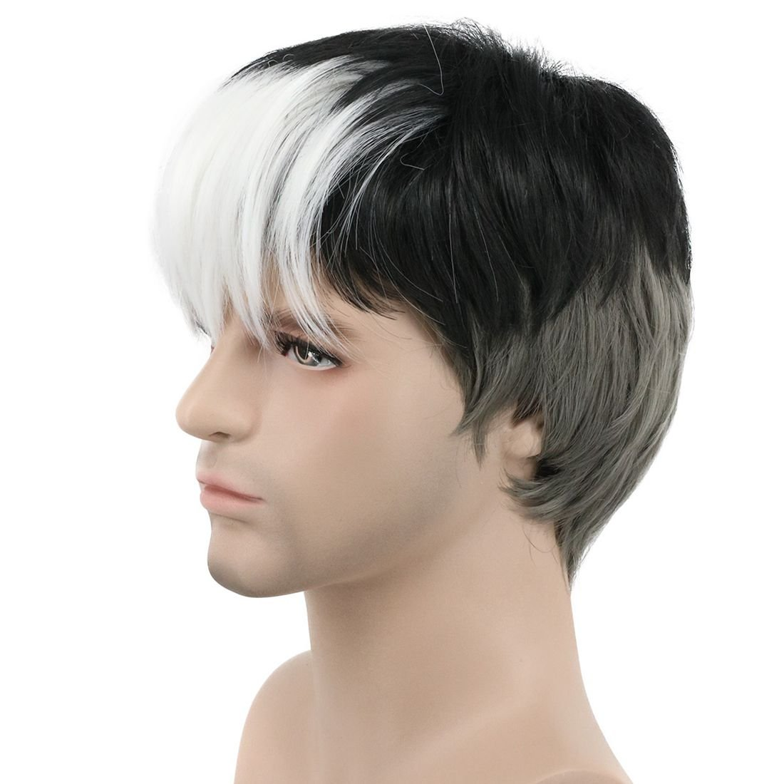 Karlery Short Straight White Gray Gradient Black Wig Halloween Costume Wig Anime Cosplay Wig
