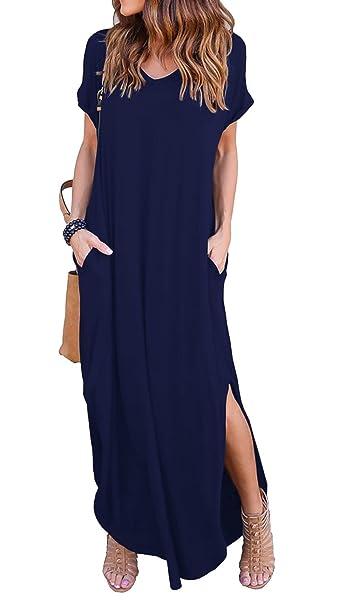 Vestidos Mujer Verano 2018 Casual Largo Liso Tunica Manga Larga y Corta Imperio Vestidos Asimetricos de